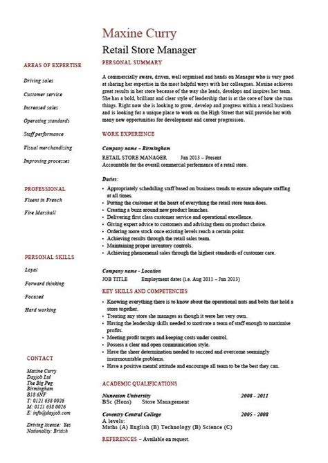 retail store manager resume description sle
