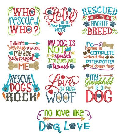 embroidery design quotes dog sayings set 2