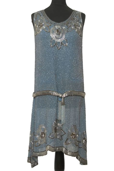 beaded 1920s dress beaded babyblue dress 1920s deco style