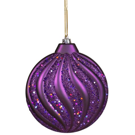 6 inch matte glitter flat christmas ball ornament purple