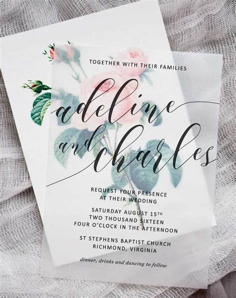wedding invitations using vellum paper diy floral wedding invitations pipkin paper company