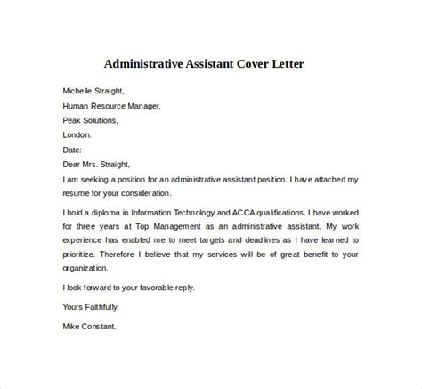 Administrative Specialist Cover Letter by Sle Cover Letter Administrative Assistant Assistant Cover Letter Sle Administrative