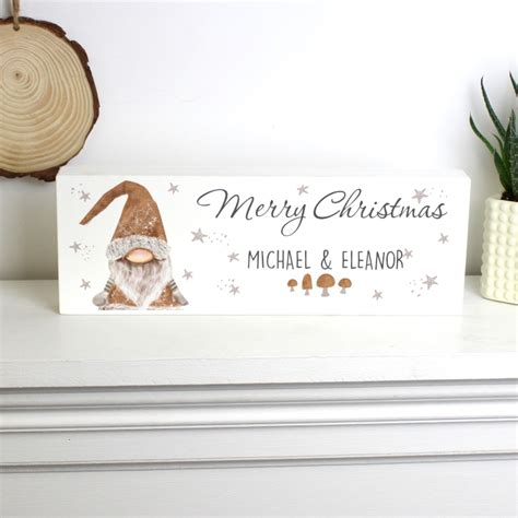 personalised scandinavian christmas gnome wooden block sign love  gifts