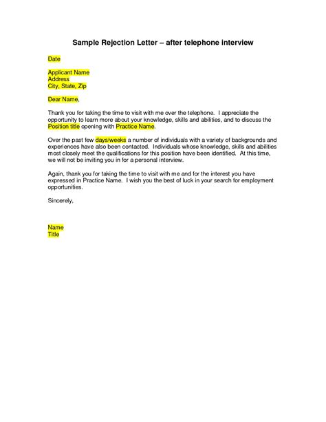 Customer Rejection Letter sle thank you letter after rejection resume cover