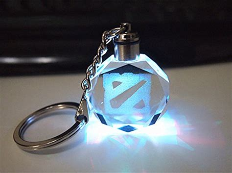 Keychain Dota Invoker dota 2 logo key chain 6 led color light auto
