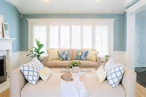 Living Room Blue And Beige Beige And Blue Living Room With Wainscoting Transitional