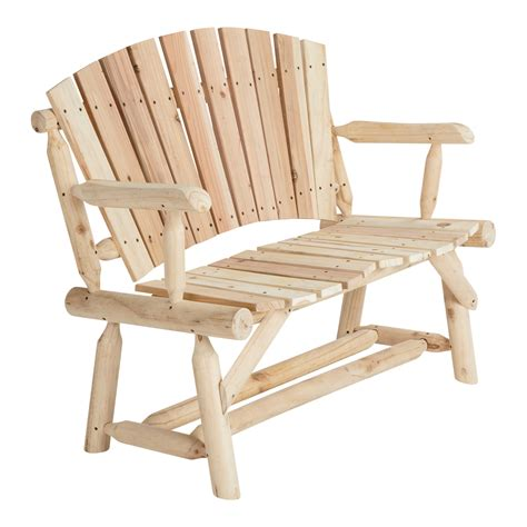 log bench seat cedar fir log adirondack love seat model t 24n340mb