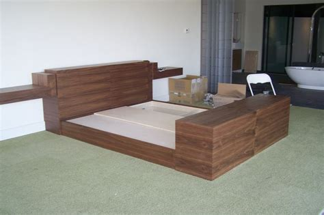 King Bed With Tv In Footboard by Finish Product Black Walnut King Bed W Compartment In Headboard And 50 Quot Tv That Comes