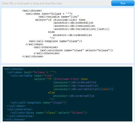 format xml html display formatting xslt code with xmlspectrum things xml