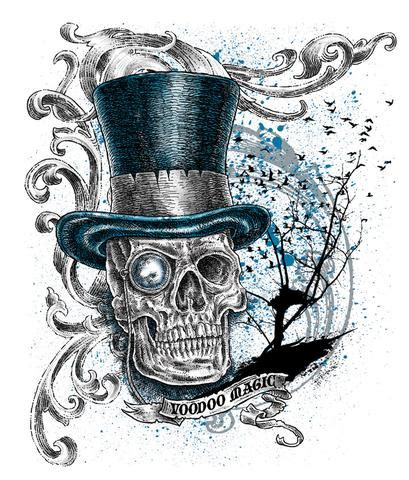 voodoo magic skull top hat white tee shirt sold by the