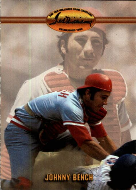 johnny bench stats 1993 ted williams 28 johnny bench nm mt