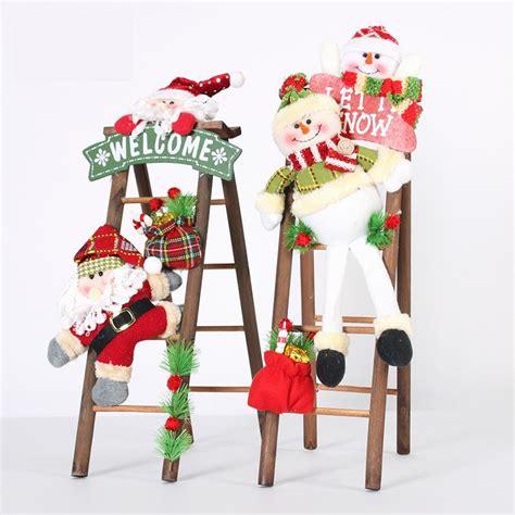 santa ckaus with snow decoration decoration lovely plush santa claus snow pendant wooden ladder door