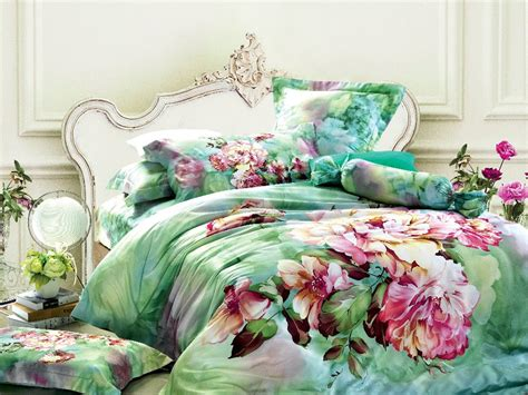 awesome king size bed sheets bedspread with green floral