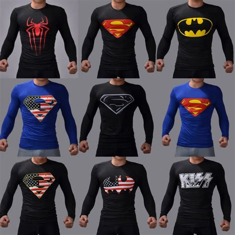 Superman Gold Longsleeve superman batman sleeve t shirt compression tights tops fitness