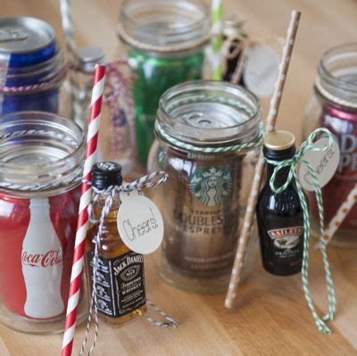 make these xl mason jar cocktail gifts mini bottles