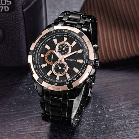 Curren Jam Tangan curren jam tangan analog pria mk51 black gold