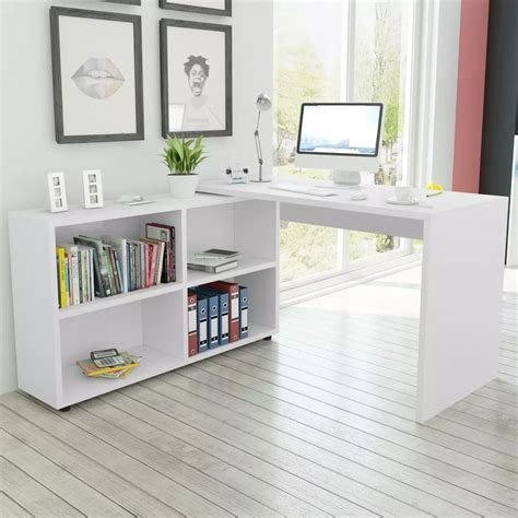 Vidaxl Co Uk Vidaxl Corner Desk 4 Shelves White White Corner Desk With Shelves