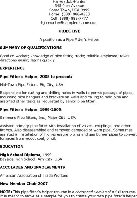 Pipefitter Resume Sle Pdf Pipefitter Helper Resume Free Premium Templates Forms Sles For Pdf Doc Formats