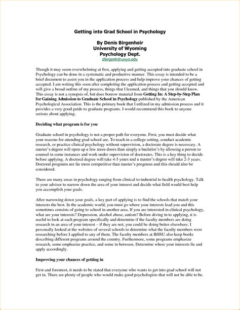 Psychology Admissions Essay Application Essay Template