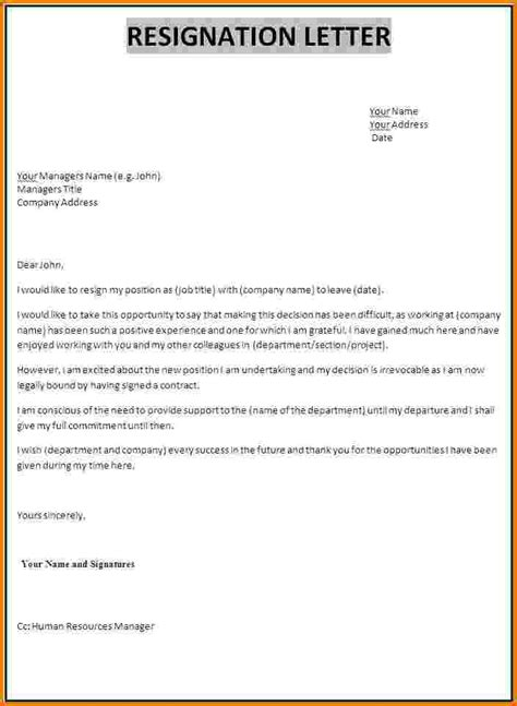 Resignation Letter Sle For Hr 12 Resignation Letter Financial Statement Form