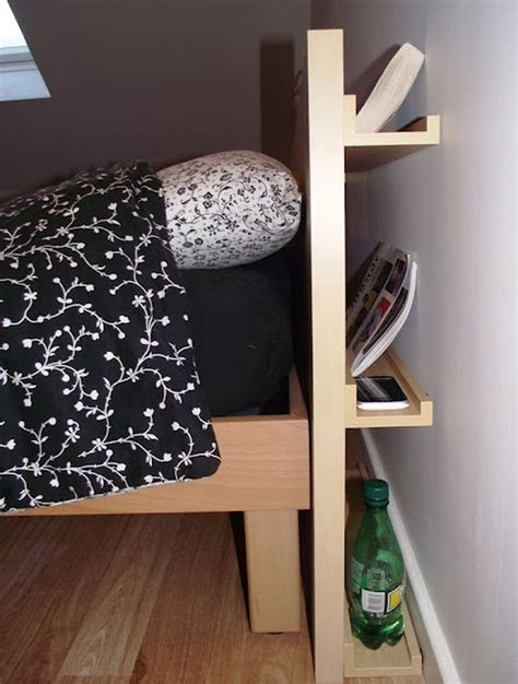 diy headboard with clever storage spaces storage