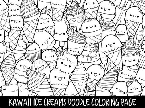 ice cream coloring pages for adults ice creams doodle coloring page printable cute kawaii