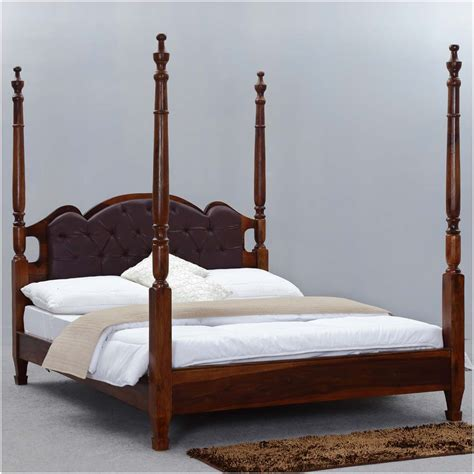 4 Poster King Bed Frame Four Poster King Size Bed Frame Tudor Solid Wood Leather