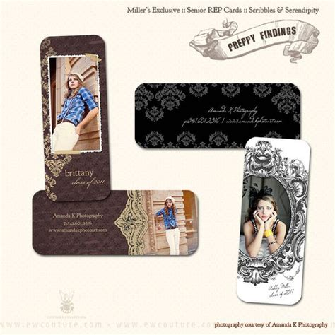 rep cards templates senior rep cards preppy and serendipity on