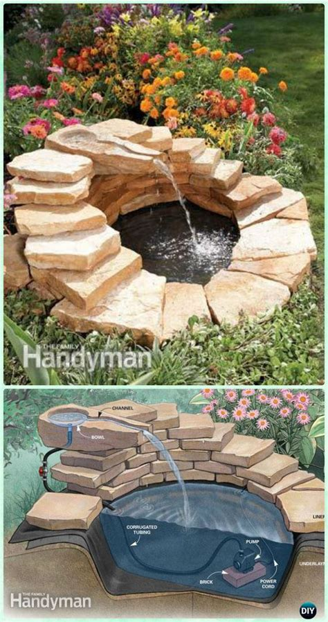 diy garden fountain landscaping ideas projects