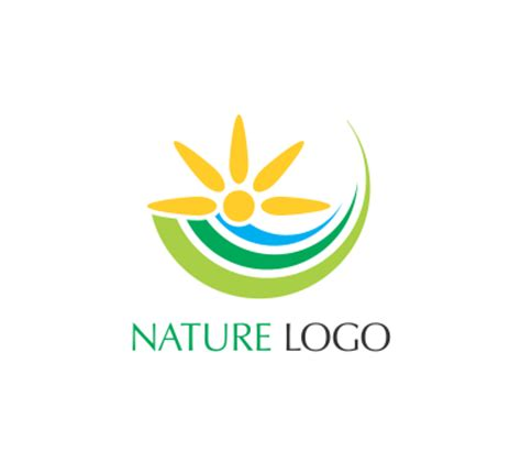 free nature logo design sun green nature art vector logo download alphabet logos