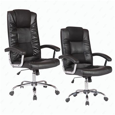 bn executive swivel office chair black pu leather lumbar support computer chair ebay