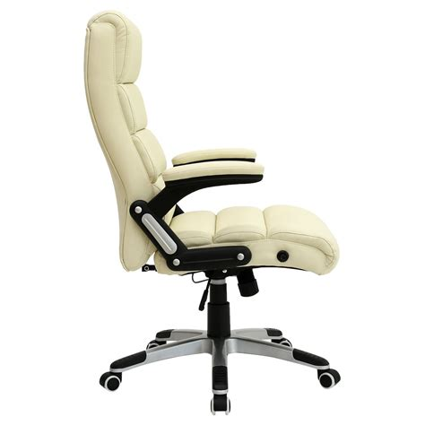 Havana Cream Luxury Reclining Executive Leather Office Reclining Office Desk Chair