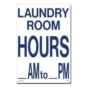 room hours lynch sign 10 in x 14 in blue on white plastic laundry