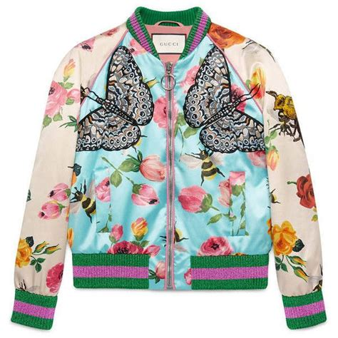 Blue Floral Boomber Printing gucci print silk bomber 212 080 rub liked on
