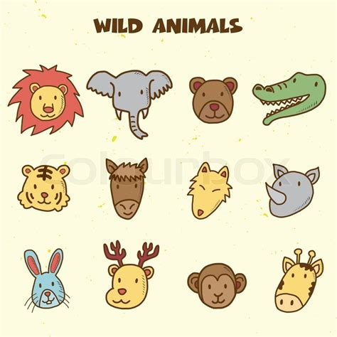 doodle animals animals doodle icons stock vector colourbox