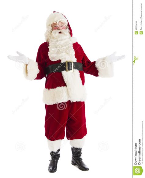 portrait of happy santa claus gesturing stock photo