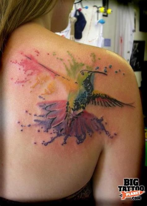 splash tattoo hummingbird color splash tattoos