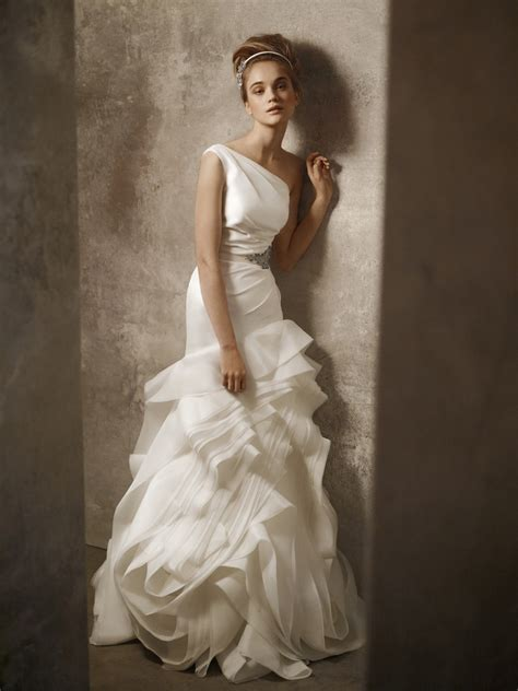 one shoulder ivory drop waist wedding dress by by