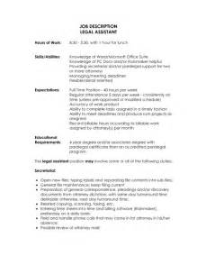 paralegal description for resume sles of resumes