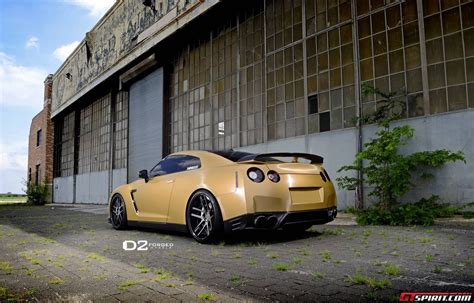 nissan gtr wrapped gold gold wrapped nissan gt r with 21 inch d2forged wheels