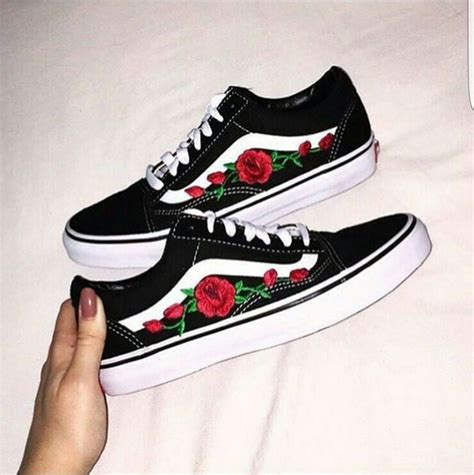 Vans Skool Flower shoes basket vans flowers customized wheretoget