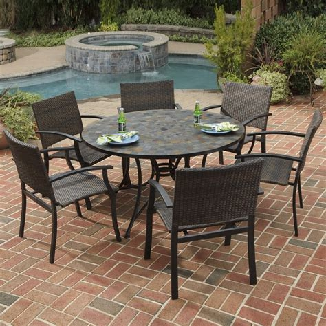 Patio Furniture Dining Shop Home Styles Harbor 7 Slate Patio Dining Set At Lowes