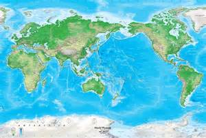 Pacific Centered World Map by Detailed World Physical Map Mural Pacific Centered At 150 176 E