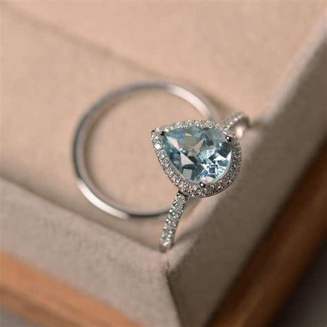 aquamarine ring engagement ring march birthstone