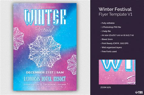 Winter Festival Flyer Template V1 By Thats Design Store Thehungryjpeg Com Winter Flyer Template