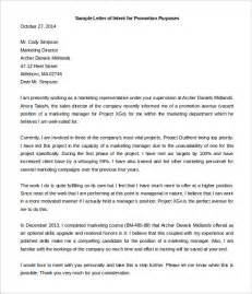 Sle Letter Of Intent For Promotion simple letter of intent templates 18 free sle