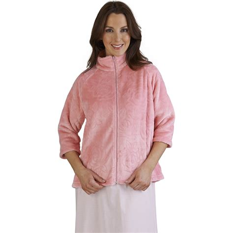 ladies bed jackets slenderella ladies super soft fleece rose jacquard bed