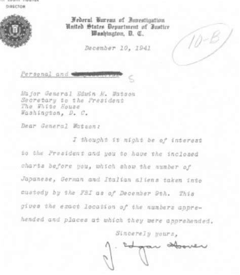 Fbi Number Search Fbi Report On Number Of Aliens In Custody From J Edgar Hoover To Major General Edwin