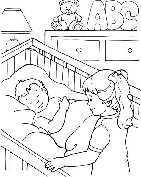 coloring page baby sleeping free coloring pages
