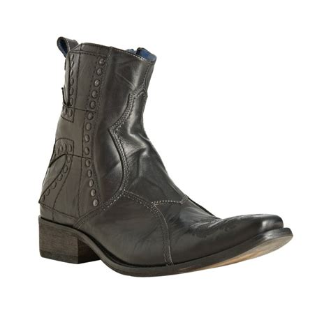 nason boots nason black leather embroidered toe boots in